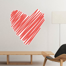 Valentine's Day Heart Shaped Red One-line Dense Sketch Illustration Pattern Wall Sticker Art Decals Wallpaper for Room Decal