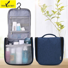 Travelsky Portable Travel Cosmetic Bag Men and Women Large Capacity Makeup Bag Hanging Toiletry Wash Bag Make up Organizer