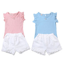 Summer Kids Baby Girls Outfits Clothes T-shirt Tops+Short Pants Shorts 2PCS Princess Chiffon Pink Blue Sleeveless Girl's Set