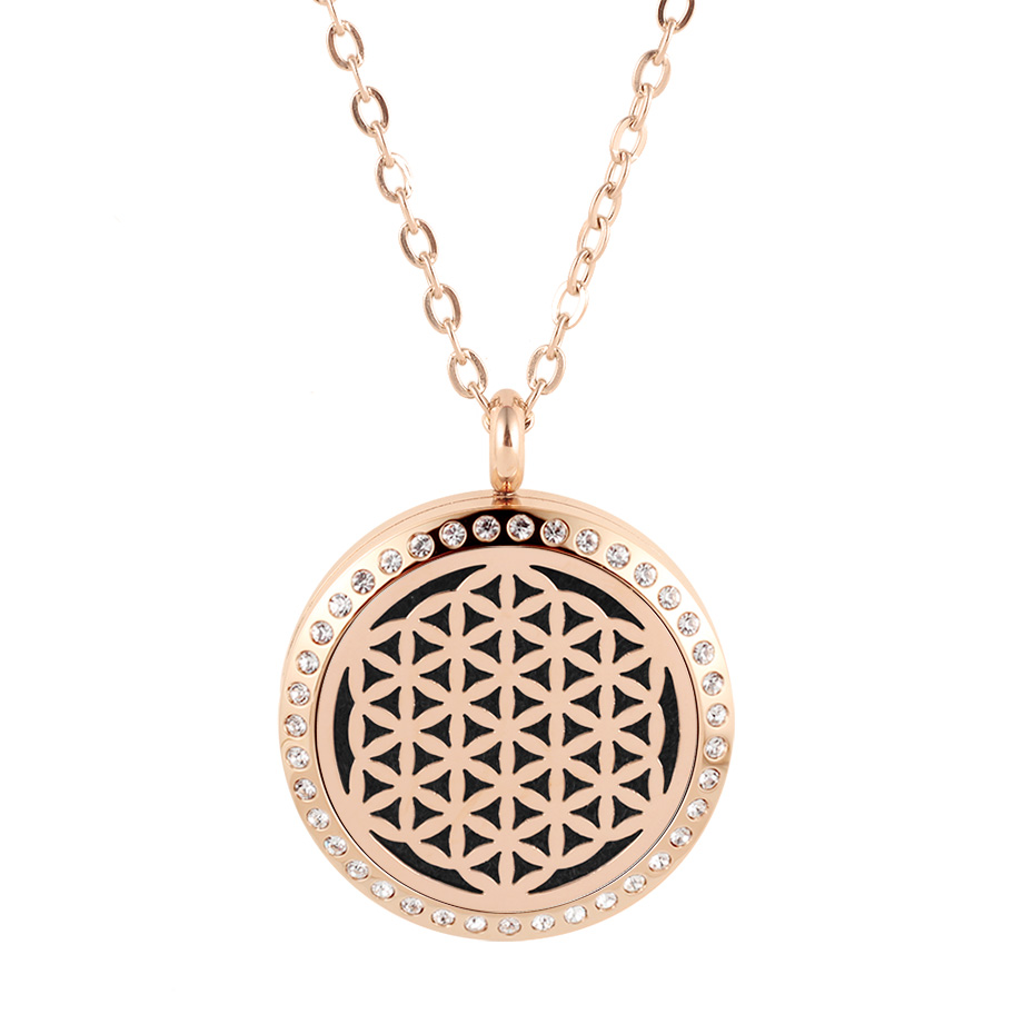 flower of life diffuser necklace silver gold rose gold 20mm 25mm 30mm locket jewelry (4)