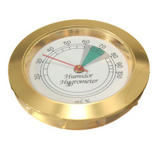"High Accuracy Round Shape Calibrate-able Gold Frame Hygrometer for Cigar Humidor 1 3/4"" Dia. Face Durable Quality"