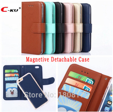 C-ku Magnetic Detachable Case For Iphone X 8 7 6 6S Plus 5 5S SE For Samsung Galaxy S8 S5 S7 S6 Edge Wallet Leather Cover 1pcs