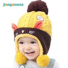 New Cotton Cat Baby Hat With Ear Infant Warm Caps Plus Velvet Girls Accessories Autumn Winter Fashion Baby Boys Clothing
