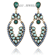 FORMU European & USA Women Fashion Jewelry Large Leaves Bubble Acrylic Beads Pendant Statement Drop Earrings ER085