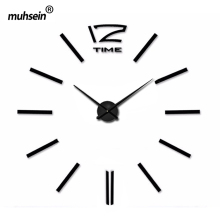2017 muhsein digital  Wall Clock Fashion 3D wall clock Mirror wall sticker Clock needle wall clock modern design free shipping