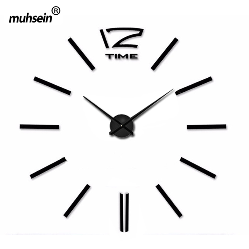 2017 muhsein digital Wall Clock Fashion 3D wall clock Mirror wall sticker Clock needle wall clock modern design free shipping(China)