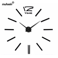 2017 digital Wall Clock fashion 3D wall clock Mirror DIY wall sticker clock needle wall clock modern design free shipping(China)
