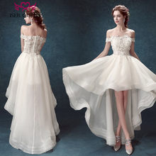 Cap Sleeve Embroidery Appliques Short Beach Wedding Dresses vestido de  noiva Off Shoulder High Low Bohemian Wedding Dress 2018 e0af36cf33e8