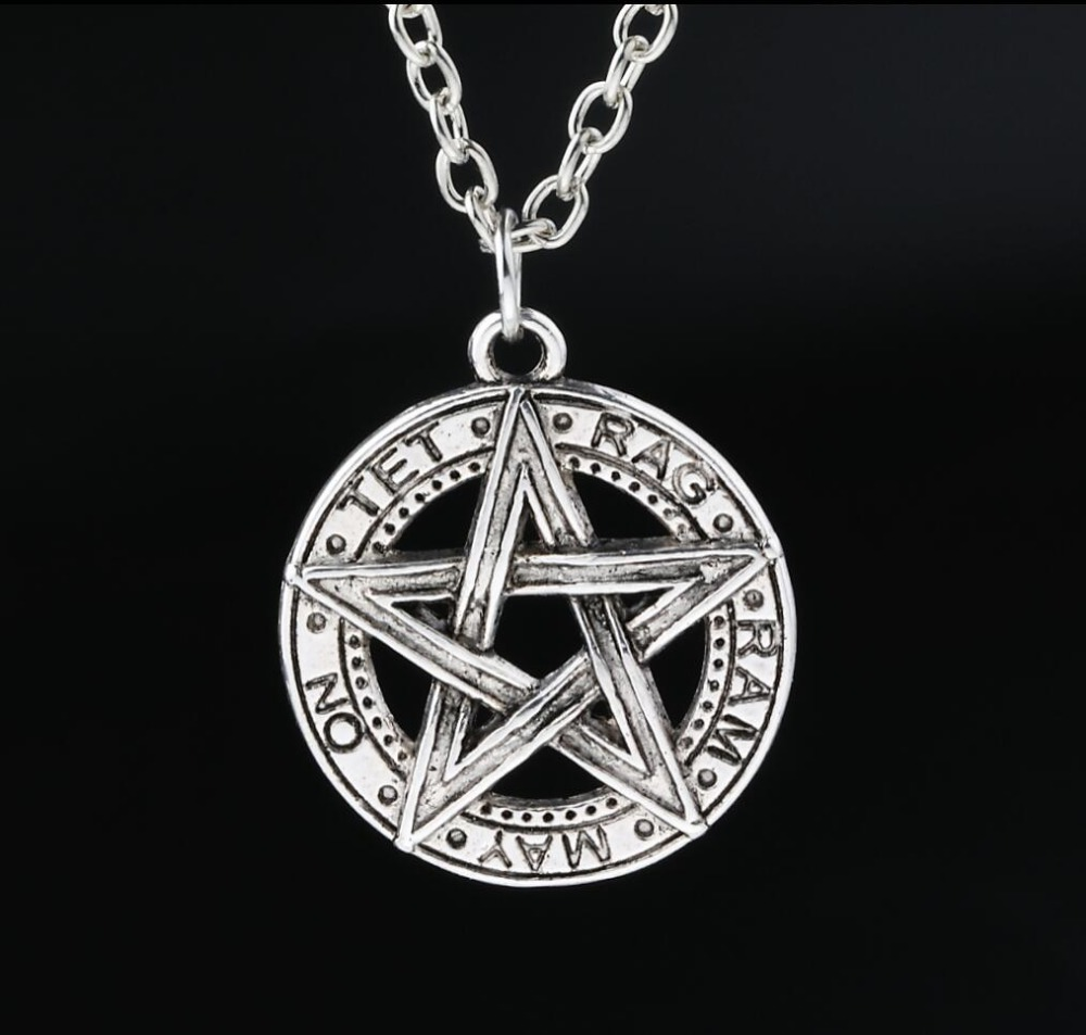 Invert Pentacle Pentagram Star Pewter Fashion Pendant Necklace For Lady Boy Man alchemist Necklace New(China (Mainland))
