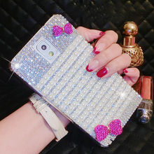Luxury Bling Crystal Diamond Hot Pink Bow Hard PC Case Cover For Samsung Galaxy Note Edge N9150