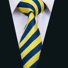 DH-1490 New Arrival Barry.Wang Men`s Tie Yellow Striped NeckTie Silk Jacquard Ties For Men Business Wedding Party(China)