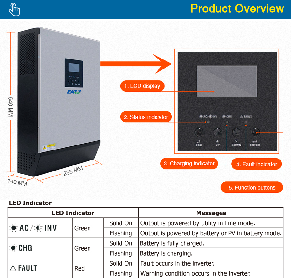 EASUN POWER Solar Inverter 5KVA 48V 220V Pure Sine Wave Hybrid Inverter Built in 50A PWM Solar Charge Controller Battery Charger ISolar SPL 5K-04