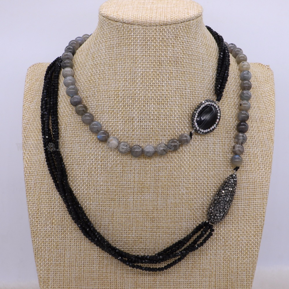 Natural labradorite stone necklace  with black beads necklace natural stone gems for women 1892