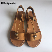 Careaymade-New 2018 Spring/Summer,Pure handmade genuine leather beach sandals,Women casual flexible tie sandals,2 colors