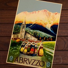Abruzzo, Italy City Beauty Art Landscape Vintage Retro Poster Decorative Wall Stickers Posters Bar Home Decor Gift