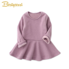 Plush Lining Winter Baby Dress for Girls Ruffles A-Line Infant Girl Dresses Christmas Cotton Kids Princess Dress Multicolor(China)