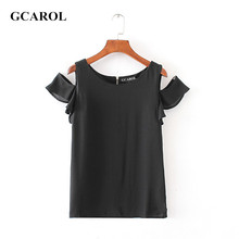 GCAROL 2017 Women Euro Style Butterfly Sleeve Blouse Back Zip Up O-Neck Basic Chiffon Tops OL High Quality New Tops For Ladies