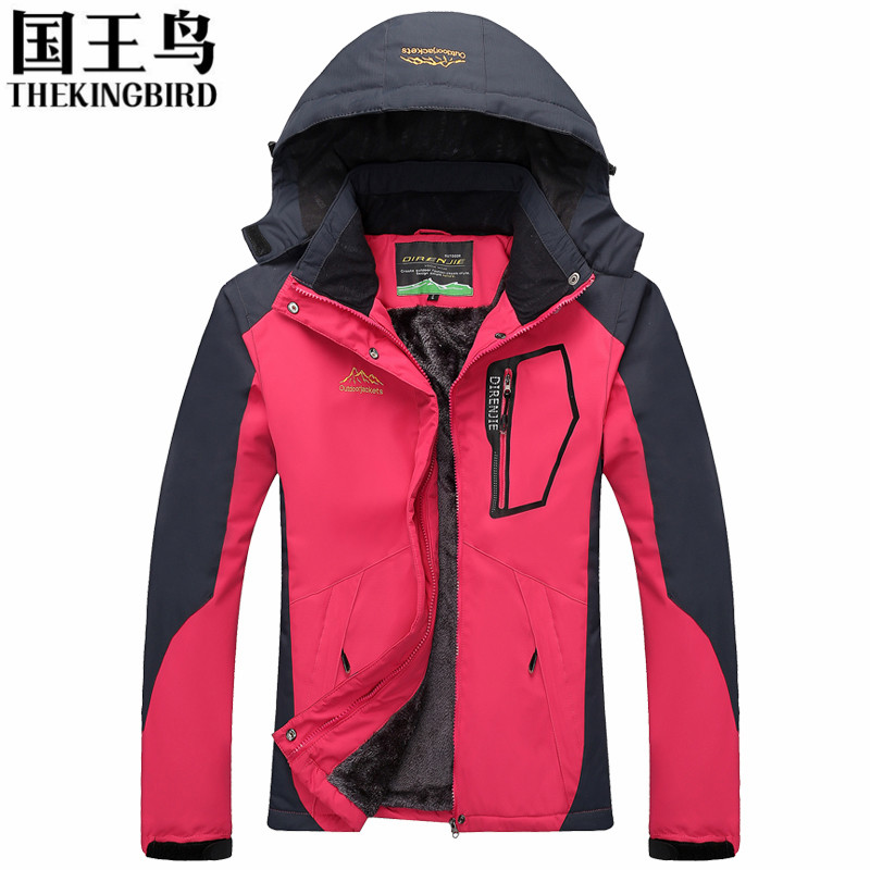 Womens jackets Winter Womens Outdoor Jackets Wool liner Thicken Sport Hooded Wind and waterproof Large size Womens clothing<br>