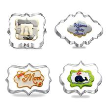 4Pcs/set  Cute Cookie Mold Eco-Friendly Plaque Frame Stainless Steel Cookie Biscuit Blessing Stile Forms Mold Confectionery Tool