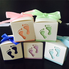 10pcs/lot Pterry Feet Laser Cut-out Baby Shower Favor Gift Candy Box GIft Boxes For Boy Girl Brithday Party Favors Gift(China)