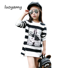 luoyamy 2017 Spring Summer Girls Children Stripe Printed Asymmetrcal Clothes Infant Kid Costume Princess Baby Next Party Dresses(China)