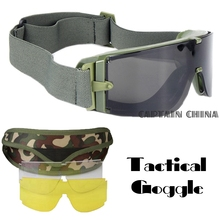 Military Airsoft Tactical Goggles Safety Glasses Combat Goggles 3 Interchangeable Anti-Fog tactical goggles(China)