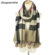 Original brand tartan cashmere 100% acrylic warm comfortable women ladies wrap rabbit fur pom pom scarfs(China)