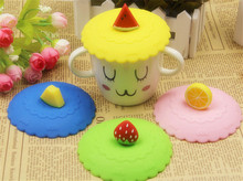 Fruit shape Lid Hight Quality Cute Creative Magic Silicone Cup Lid Environmental Safety Sealed Kids Gift