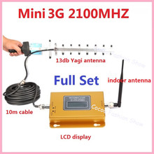 New LCD Booster !!! Mini 3G W-CDMA UTMS 2100Mhz Mobile Phone Signal Booster , WCDMA 3G Signal Repeater + 13db Yagi Antenna 1 Set(China)