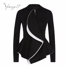 Young17 Women Ruffles Coat Autumn Peplum Short Slim Outerwear Gothic Black Zipper Jacket Women Fashion Coats Goth Suit(China)