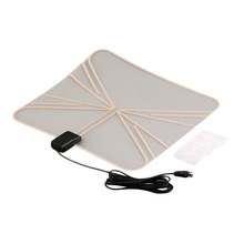 High Quality 5 dB 470-860 MHz Digital Indoor HD TV Antenna Box Flat Design High Gain 75 OHM Black LAN-1037 Hot Promotion