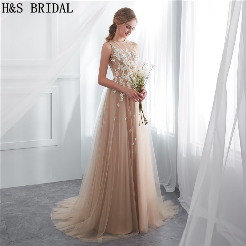 H S BRIDAL Champagne summer beach wedding dresses sweep train simple cheap wedding  gowns 2018 vestidos de novia. 24a 24b 24e 24f ... c4a7d0589a0d