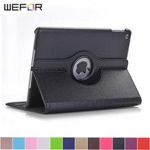 Case Cover For Apple iPad 2017 9.7 PU Leather Flip Smart Stand 360 Rotating For New iPad 9.7 2017 Case(China)