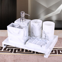 5 or 6 pcs set resin marble design bathroom accessaries set: 1 Liquid bottle + 2 cups +1 Toothbrush holder+1 soap dish(China)