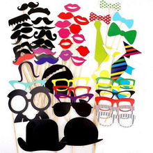 58PCS/Lot Funny Photo Booth Props Mustache on a Stick For Wedding Birthday Party