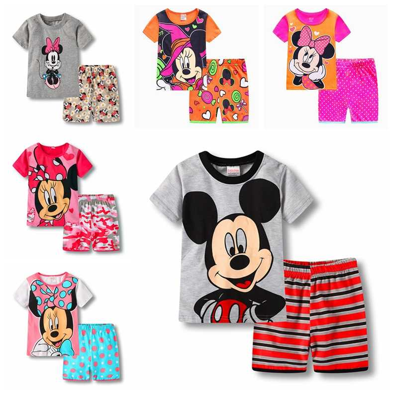 a3862bf76a4 2017 Summer Kids Clothes Baby Boys Girls Clothing Short Sleeve Costume  Cotton Pajamas PJS Childrens Nightdress
