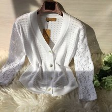 Summer explosion ultra-thin knitted cardigan stitching lace sleeves woman long sleeved cardigan all-match sunscreen