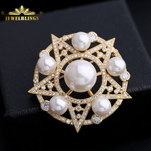 Old European Style Circular Framed Shell Pearls CZ Five-pointed Star Brooches Silver Tone CZ Pave Victorian Five Star Broaches
