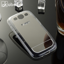 AKABEILA Plating Mirror TPU Mobile Phone Case For Samsung Galaxy S3 S III i9300 I9305 I9308 I747 T999 GT-I9300 Cover Bag Silicon(China)
