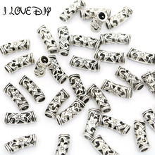Free Shipping 20pcs New Flower Tibetan silver Spacer Tube Beads Connectors(China)