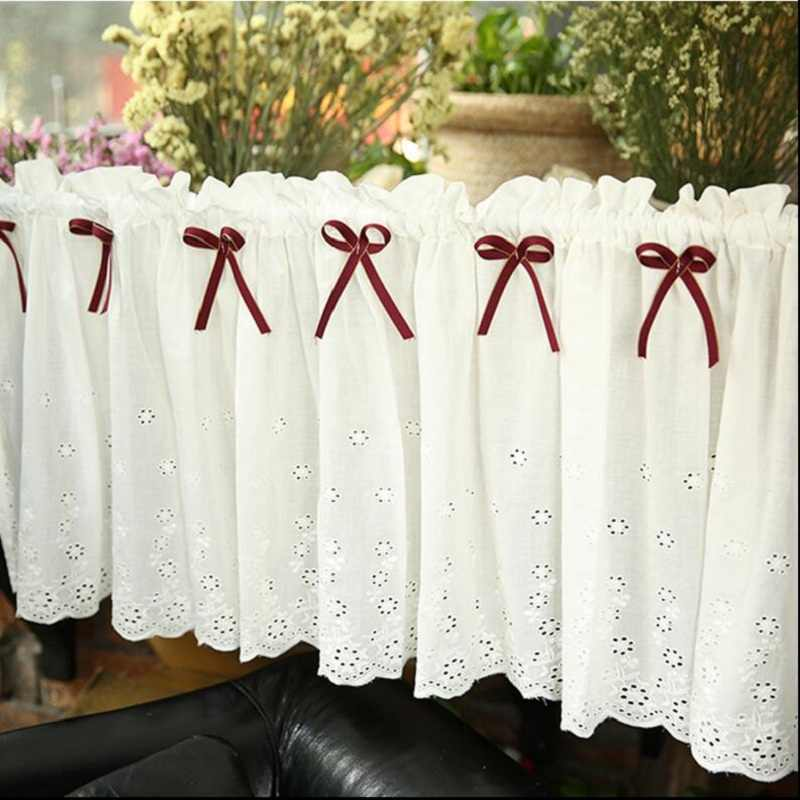 Coffee Short Curtain Rustic Cotton Small Kitchen Curtain Rod Pocket Finished Short Curtain Flower Cafe Door Curtains A035&20