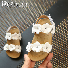 WOBIPULL 2017 girl sandals flowers sandals soft bottom female baby little flowers sandals pink white Girl summer shoes 21-30