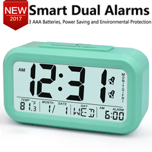 Large Digital Alarm Clock LCD Student Electronic Clock Snooze Sensor Kids Table Clock Bedroom Clock Night Light 2 Alarms