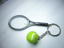 6 color  pendant tennis rackets keychain with ball  fashion accessories  souvenir gift