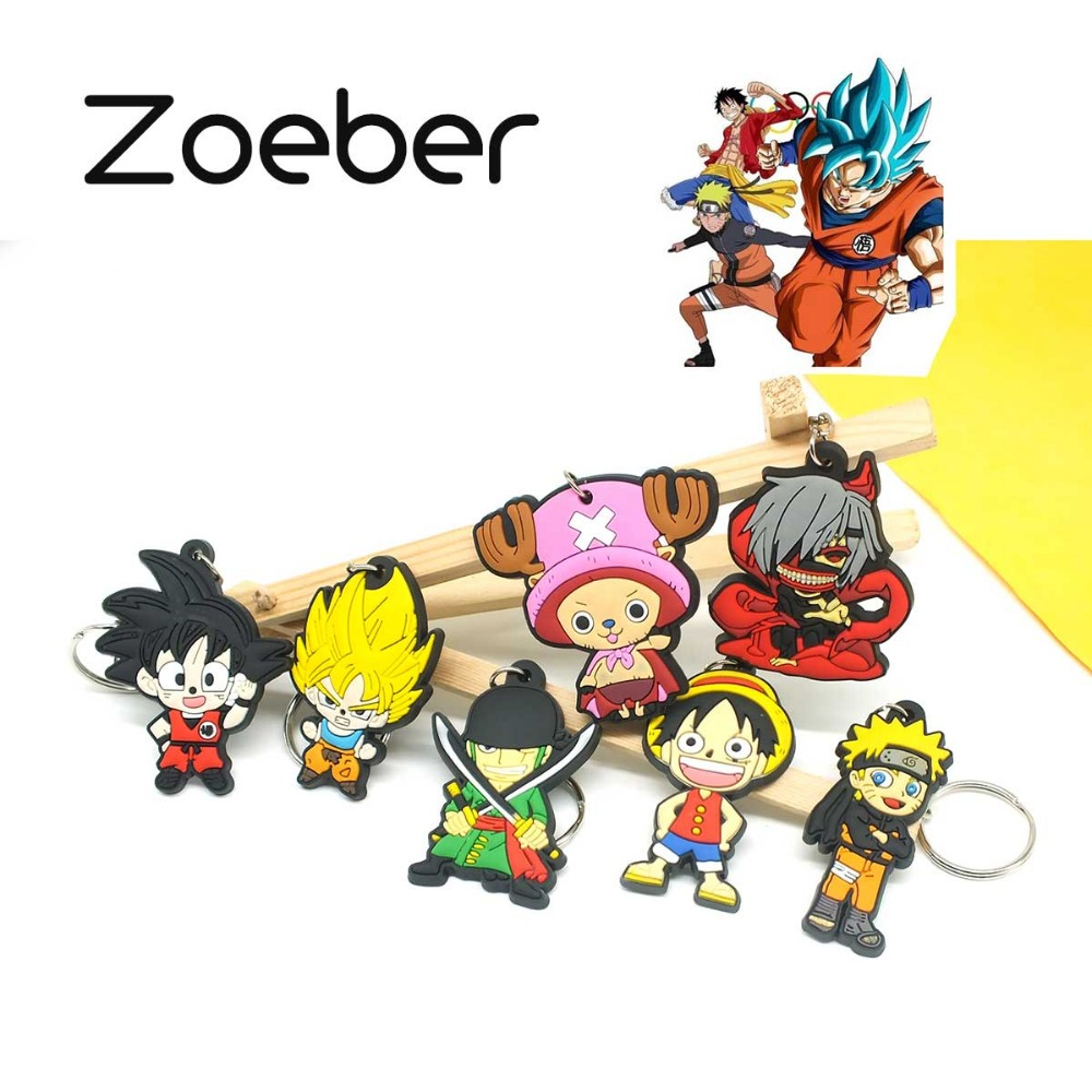 Zoeber NEW Dragon Ball Cartoon Key ring children Anime keychain Luffy naruto ONE PIECE joba Key chain Silicone keyring bag chain(China (Mainland))