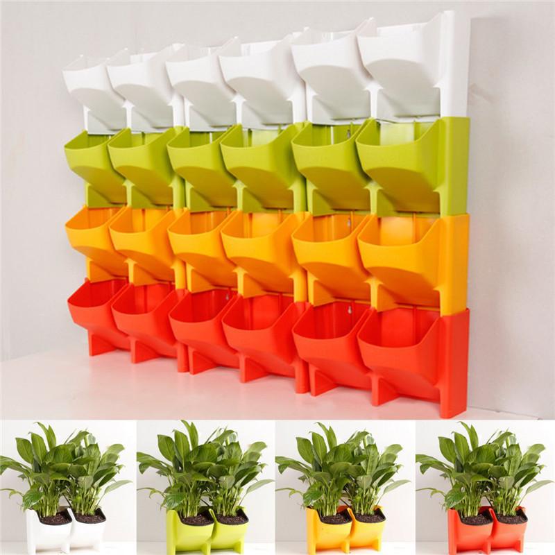 Stackable 2-Pockets Vertical Wall Planter Self Watering Hanging Garden Flower Pot Planter for Indoor/Outdoor 5