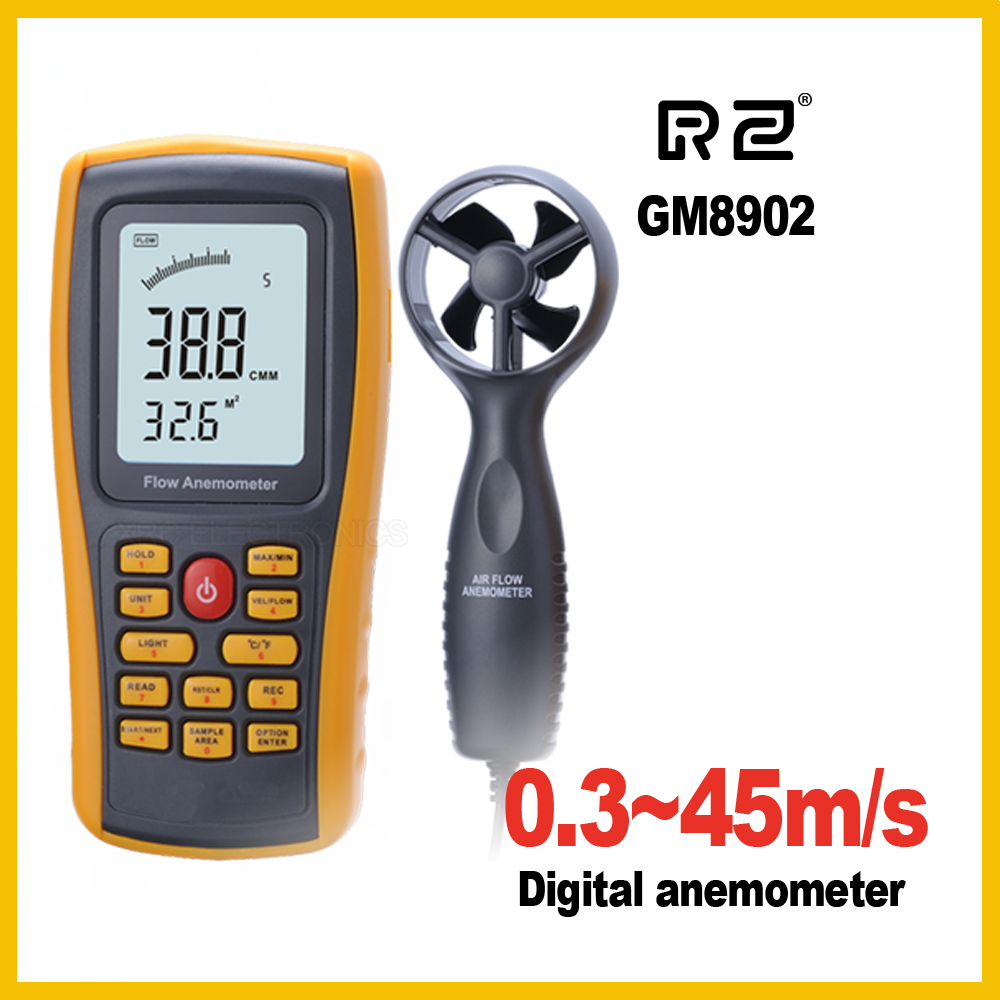 GM8902 Anemometer Wind FLOW Speed GaugeTemperature Measure Digital 45 m/s USB<br>