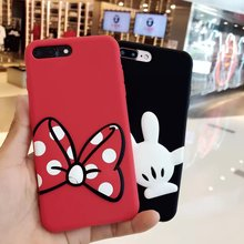 For iPhone 7 7plus case soft silicone back protect cover case for iPhone 6 6s plus stuff red bow black finger for iphone7 strap