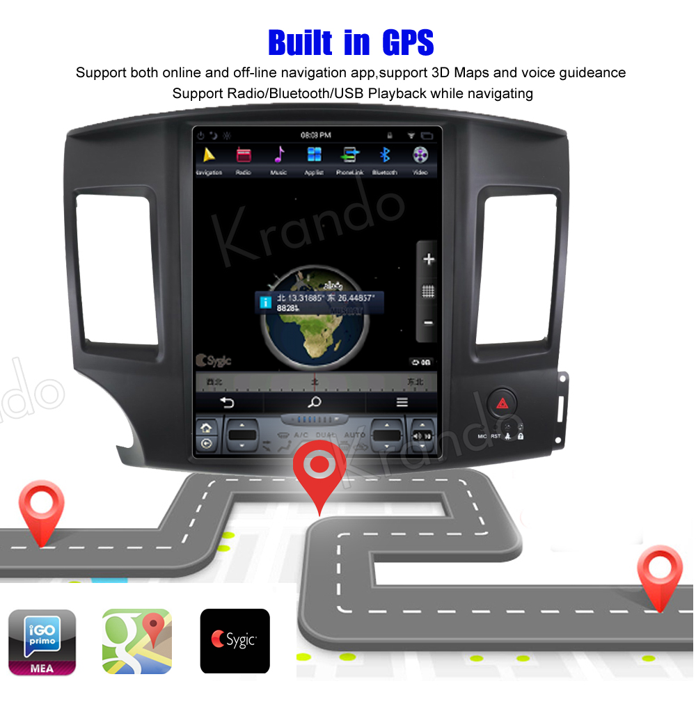 Krando 10.4 '' Vertical screen android car radio multimedia for Mitsubishi Lancer 2007 - 2017 big screen navigation with gps system