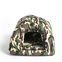 Camouflage Pet Dog Kennel House Foldable Soft Winter Dog Bed Small Dogs Cave Cat House Cute Kennel Comfortable Warmer Nest(China)